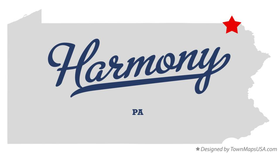Map of Harmony Pennsylvania PA