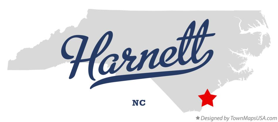 Map of Harnett North Carolina NC