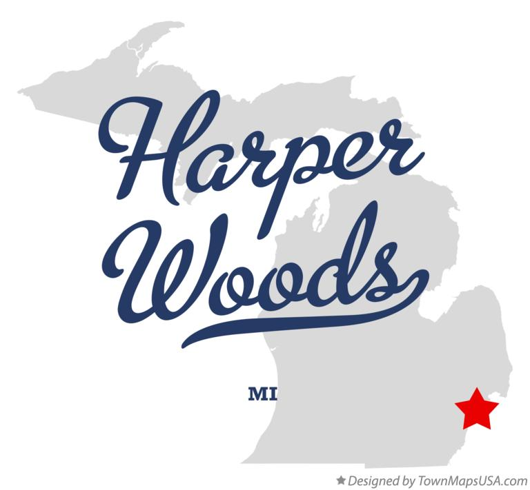 Map of Harper Woods Michigan MI