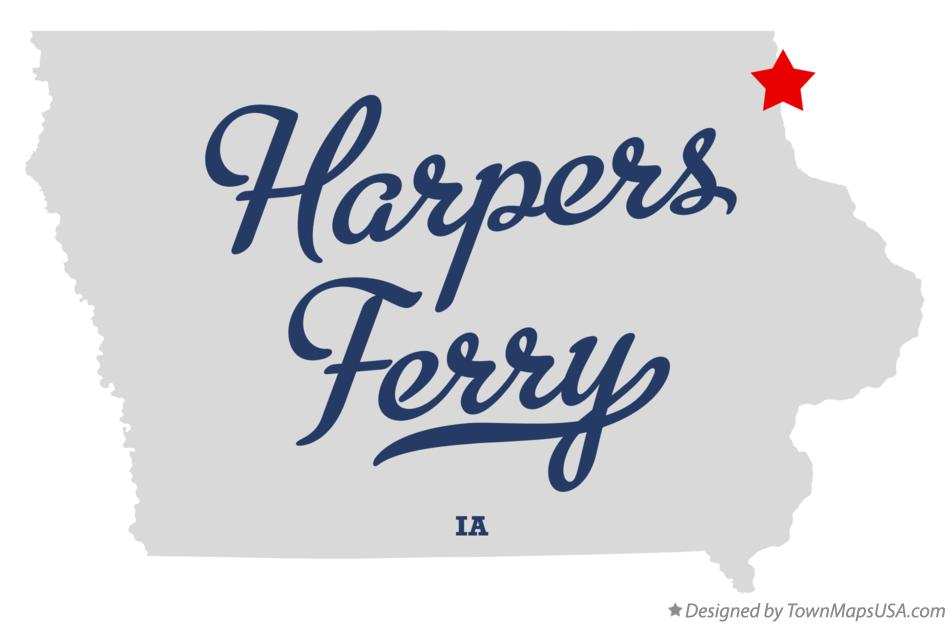Map of Harpers Ferry Iowa IA