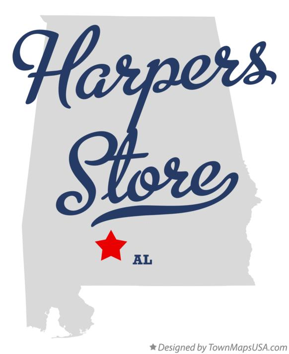 Map of Harpers Store Alabama AL