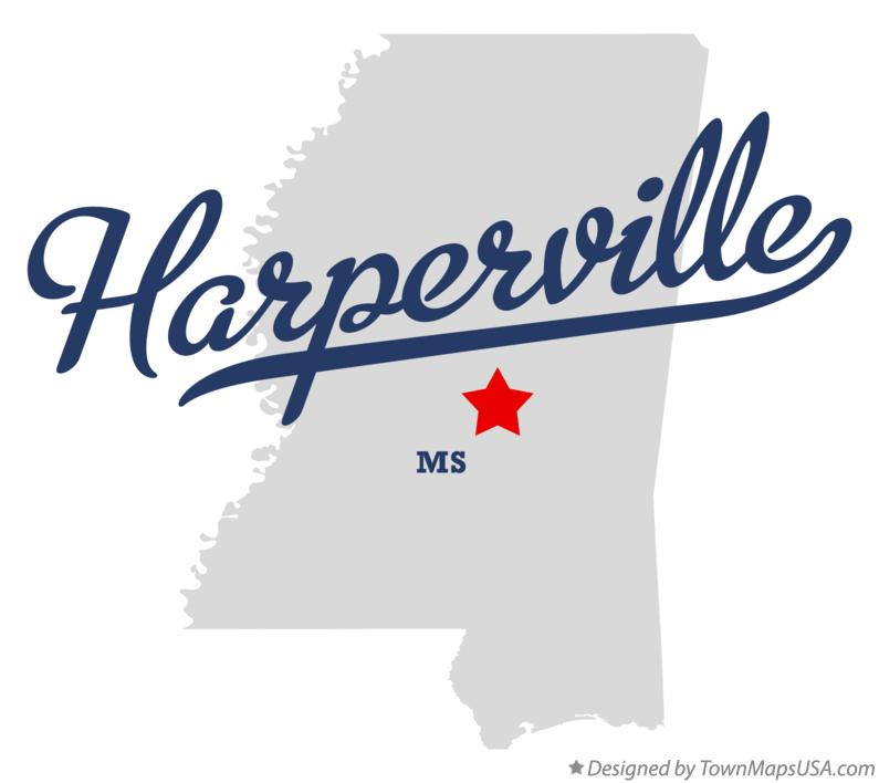 Map of Harperville Mississippi MS