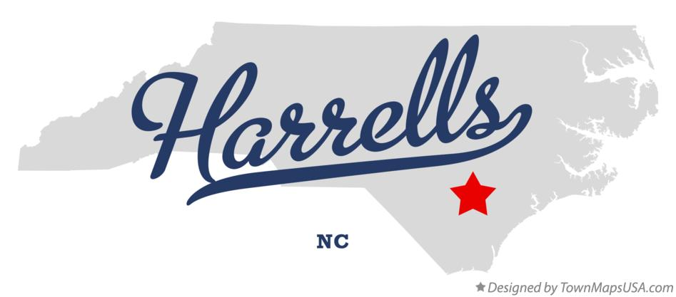 Map of Harrells North Carolina NC
