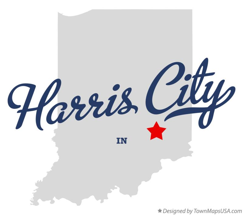 Map of Harris City Indiana IN