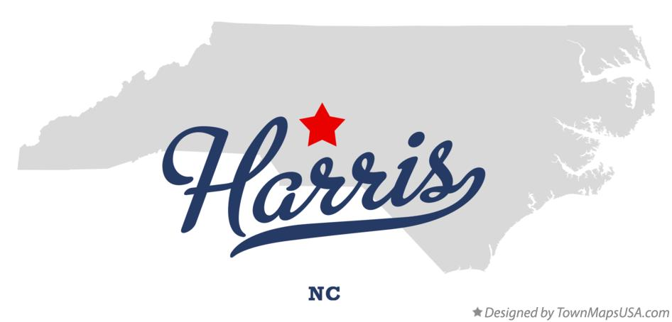 Map of Harris North Carolina NC