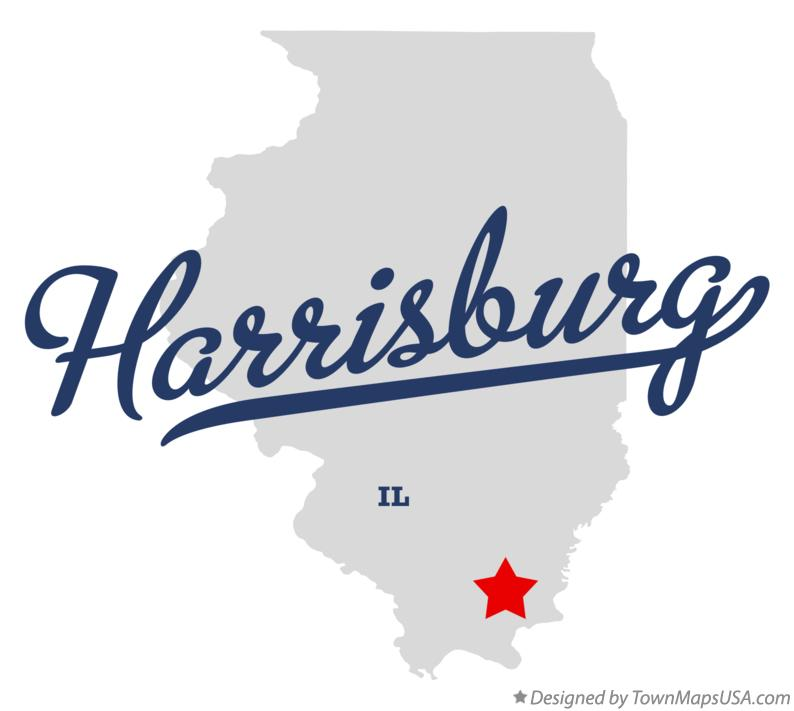 Map of Harrisburg Illinois IL
