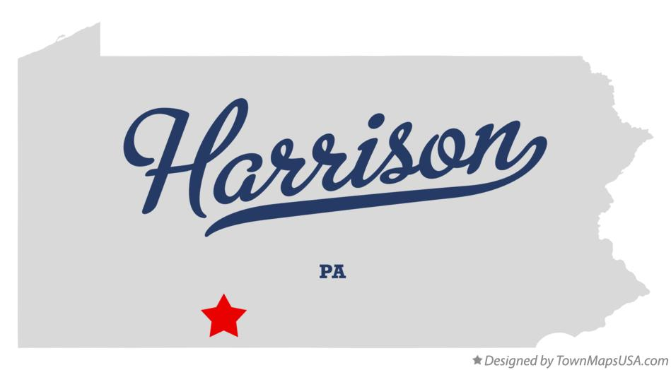 Map of Harrison Pennsylvania PA
