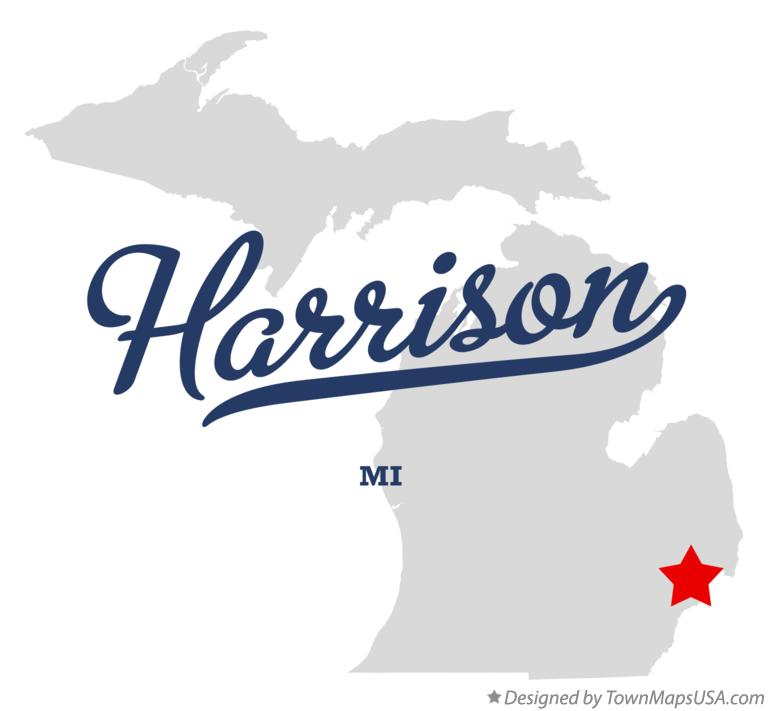 Map of Harrison Michigan MI