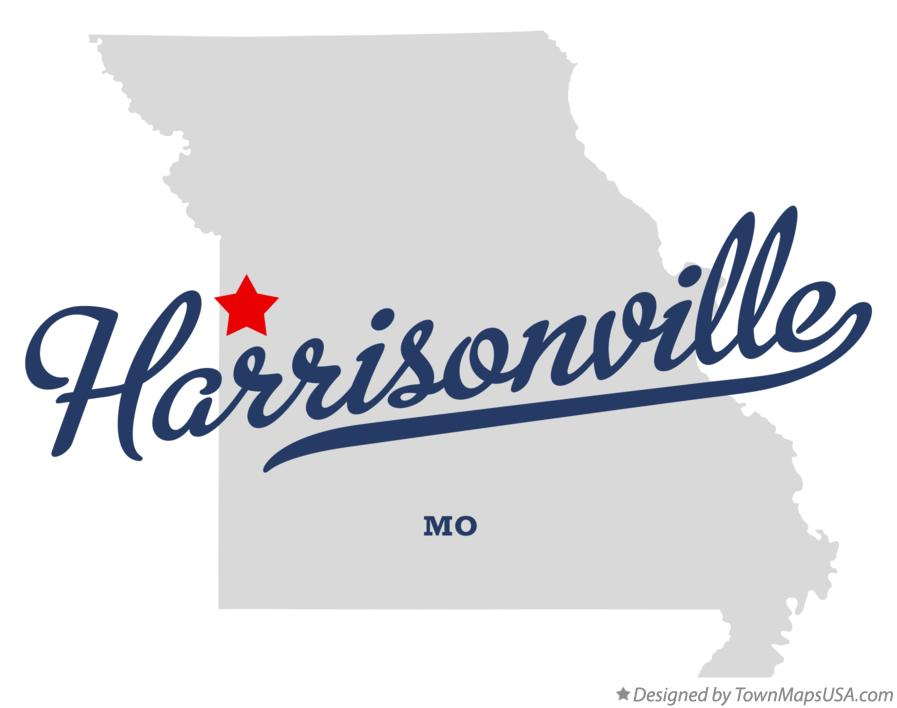 Map of Harrisonville Missouri MO
