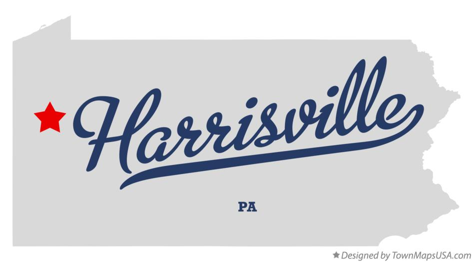 Map of Harrisville Pennsylvania PA