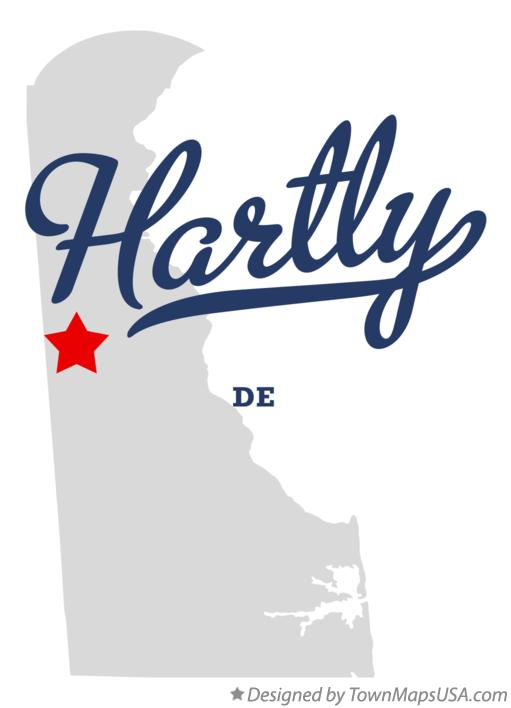 Map of Hartly Delaware DE