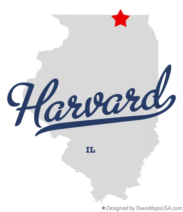 Map of Harvard Illinois IL