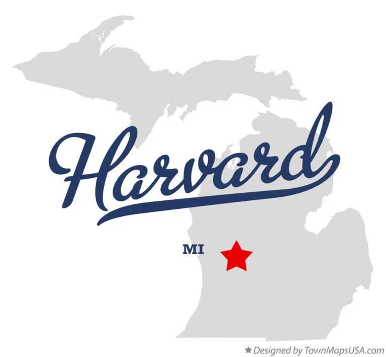 Map of Harvard Michigan MI