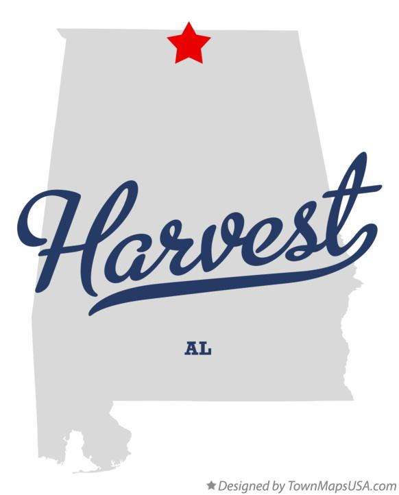 Map of Harvest Alabama AL