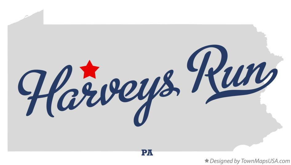Map of Harveys Run Pennsylvania PA
