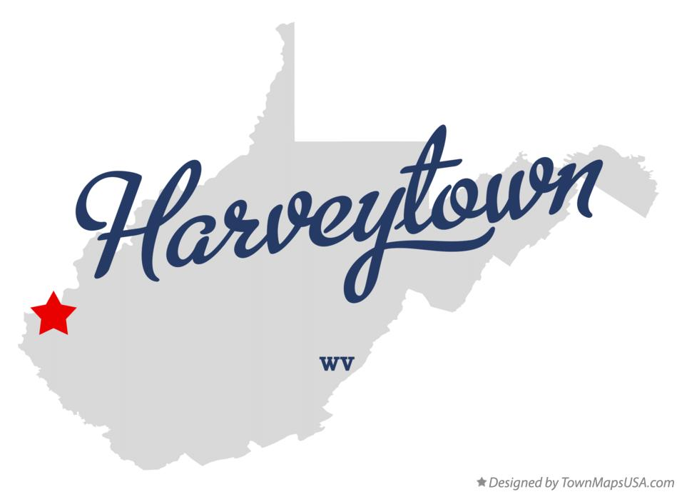 Map of Harveytown West Virginia WV
