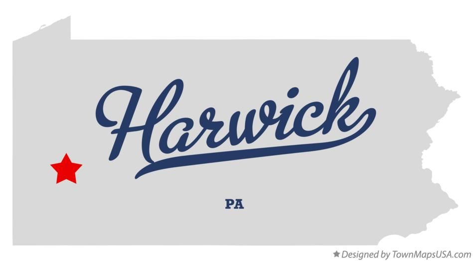 Map of Harwick Pennsylvania PA