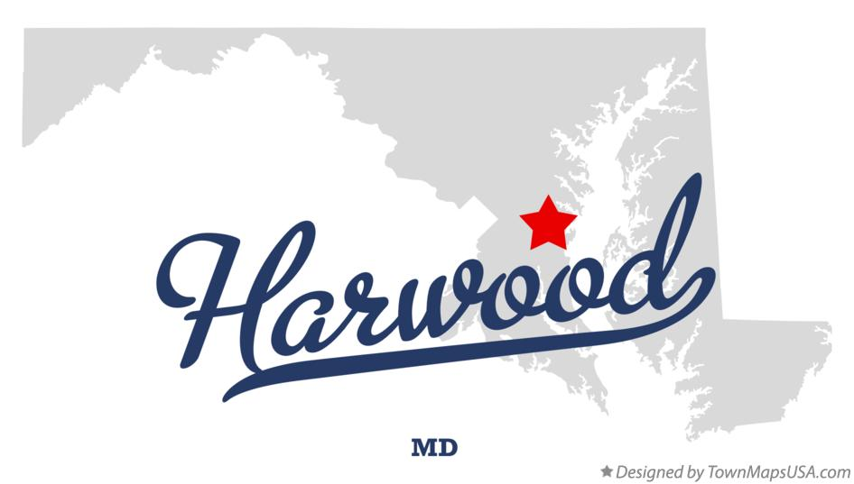 Map of Harwood Maryland MD