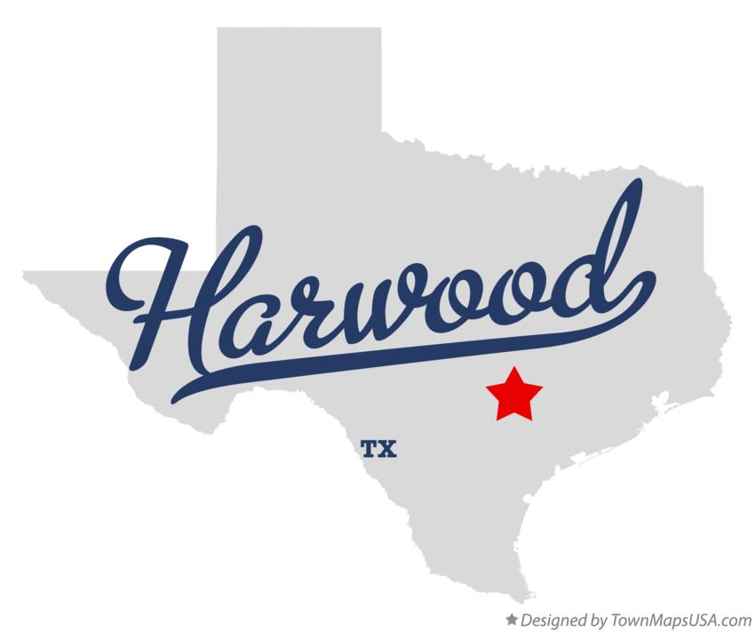 Map of Harwood Texas TX