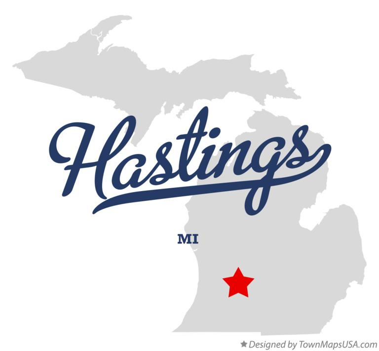 Map of Hastings Michigan MI