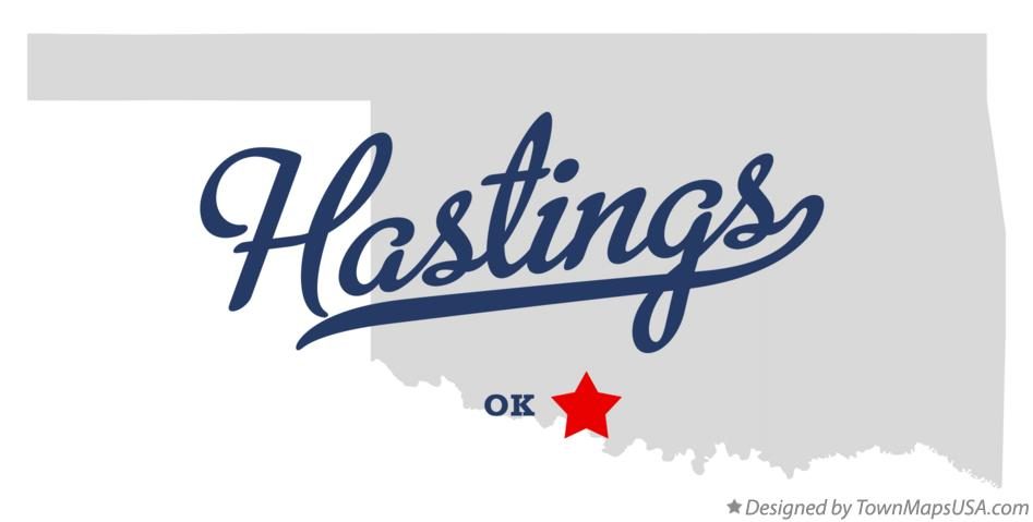 Map of Hastings Oklahoma OK
