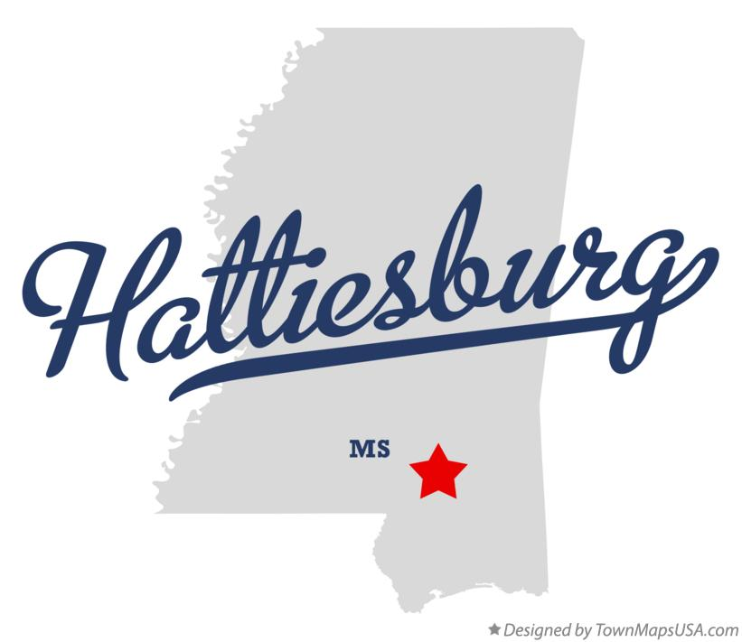 Map of Hattiesburg Mississippi MS