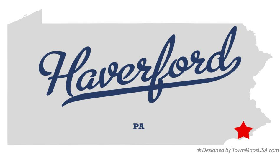 Map of Haverford Pennsylvania PA
