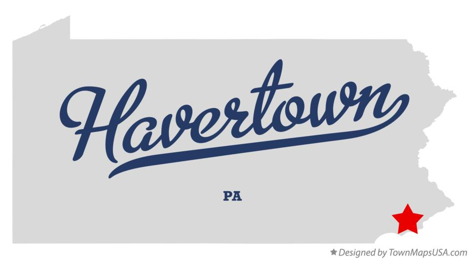Map of Havertown Pennsylvania PA