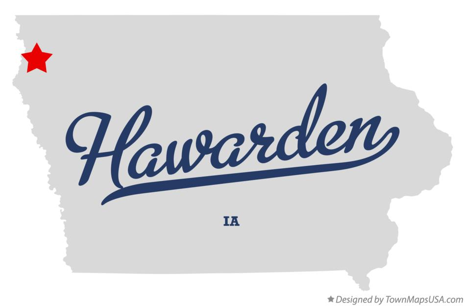 Map of Hawarden Iowa IA