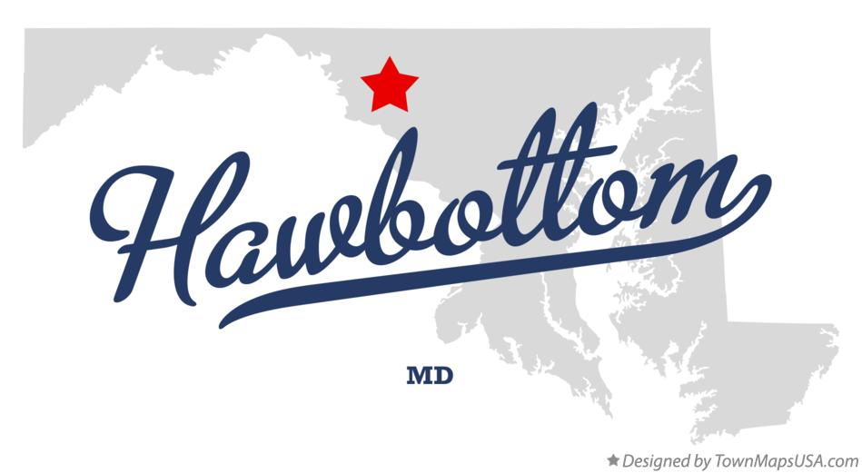 Map of Hawbottom Maryland MD