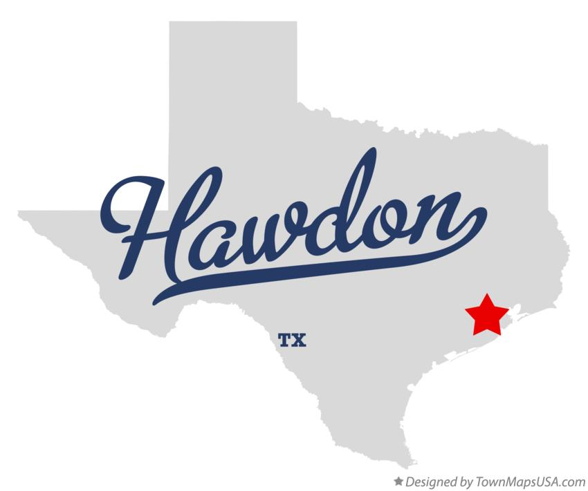 Map of Hawdon Texas TX