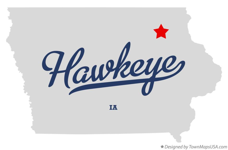Map of Hawkeye Iowa IA