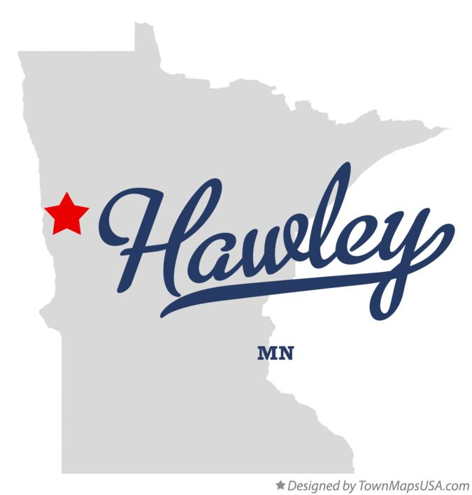 Map of Hawley Minnesota MN