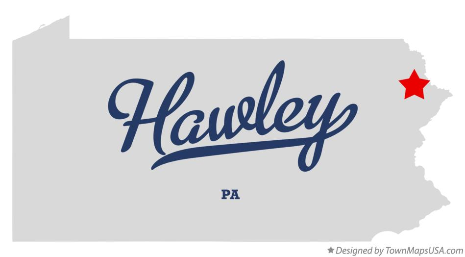 Map of Hawley Pennsylvania PA