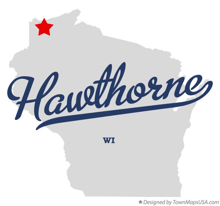 Map of Hawthorne Wisconsin WI