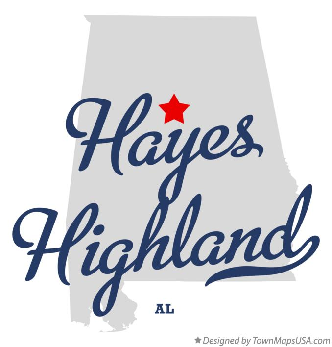Map of Hayes Highland Alabama AL