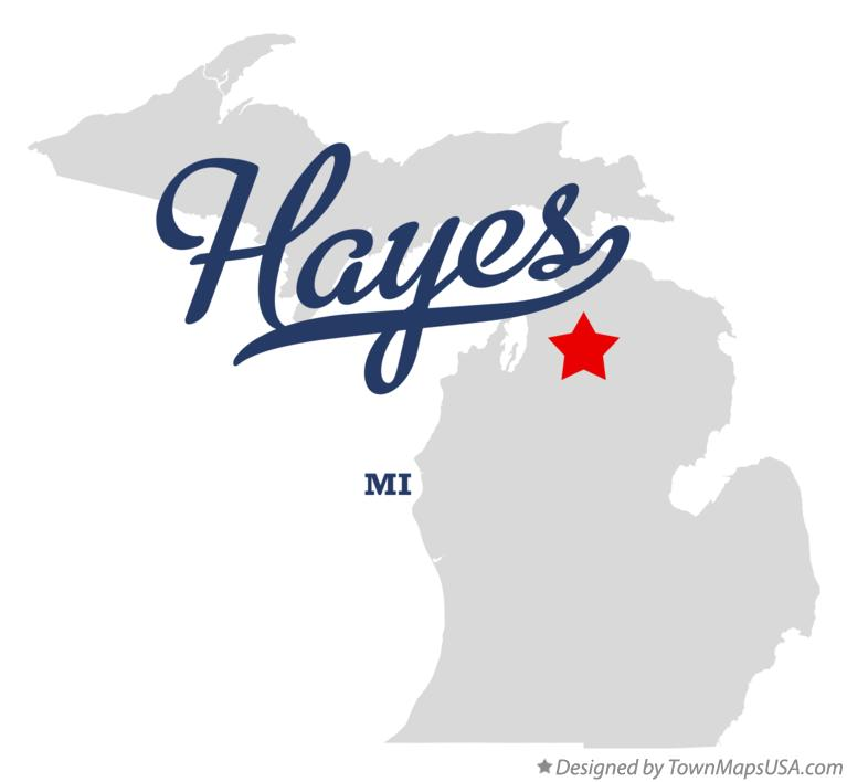 Map of Hayes Michigan MI