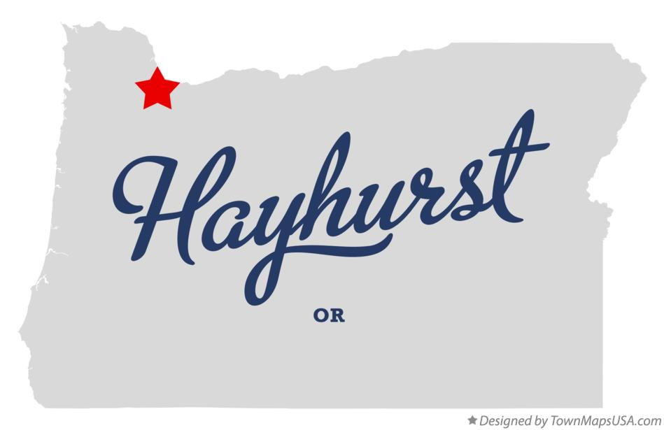 Map of Hayhurst Oregon OR