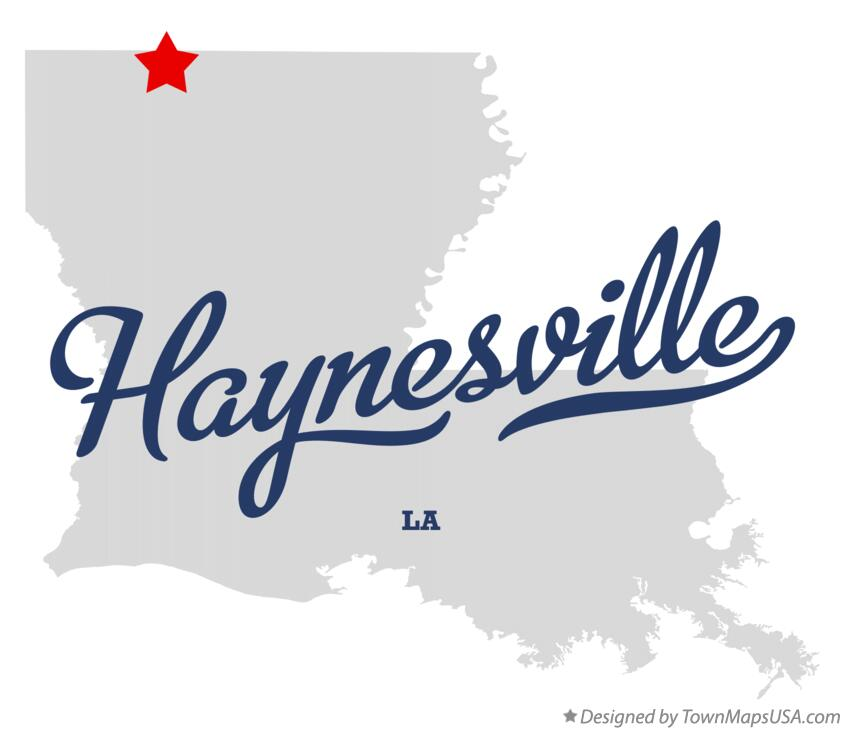 Map of Haynesville Louisiana LA