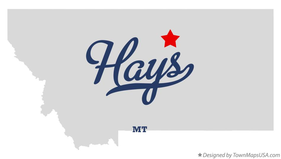Map of Hays Montana MT