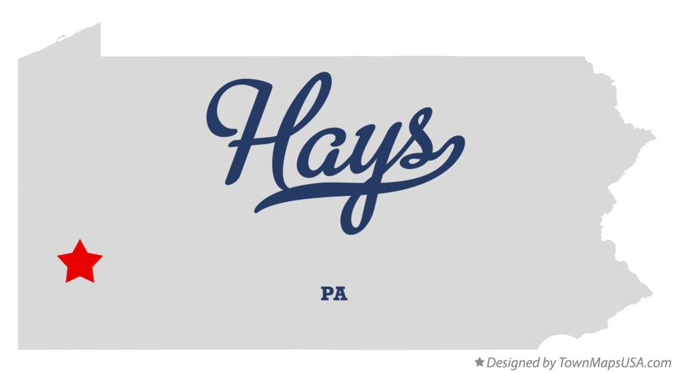 Map of Hays Pennsylvania PA
