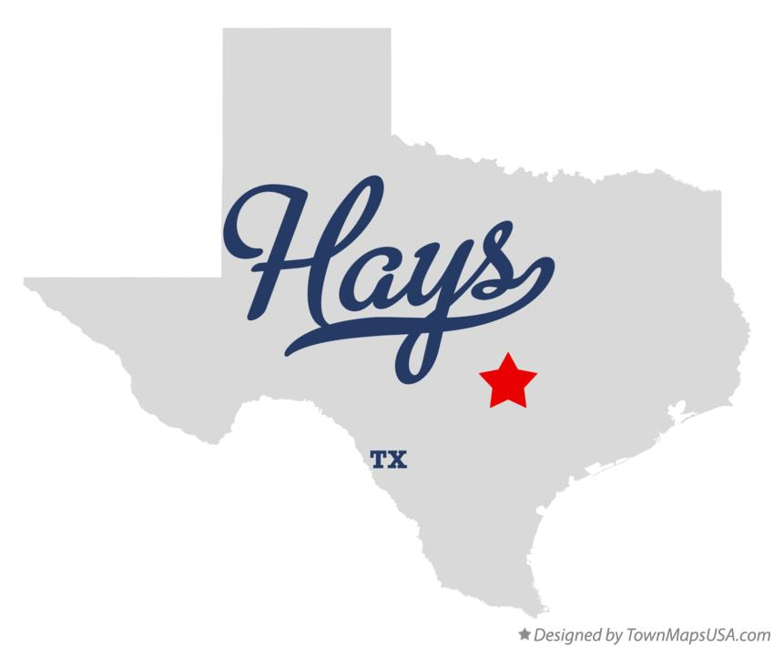 Map of Hays Texas TX