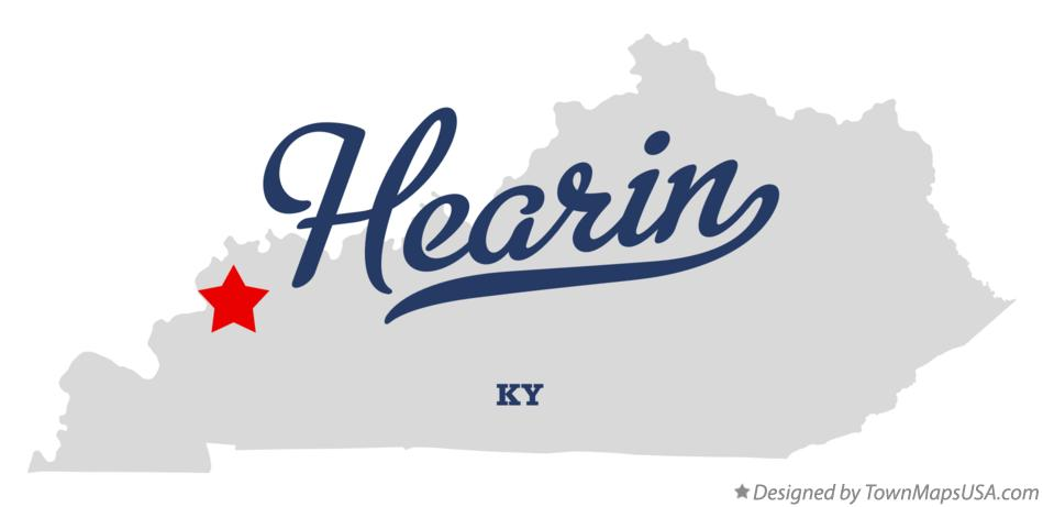 Map of Hearin Kentucky KY