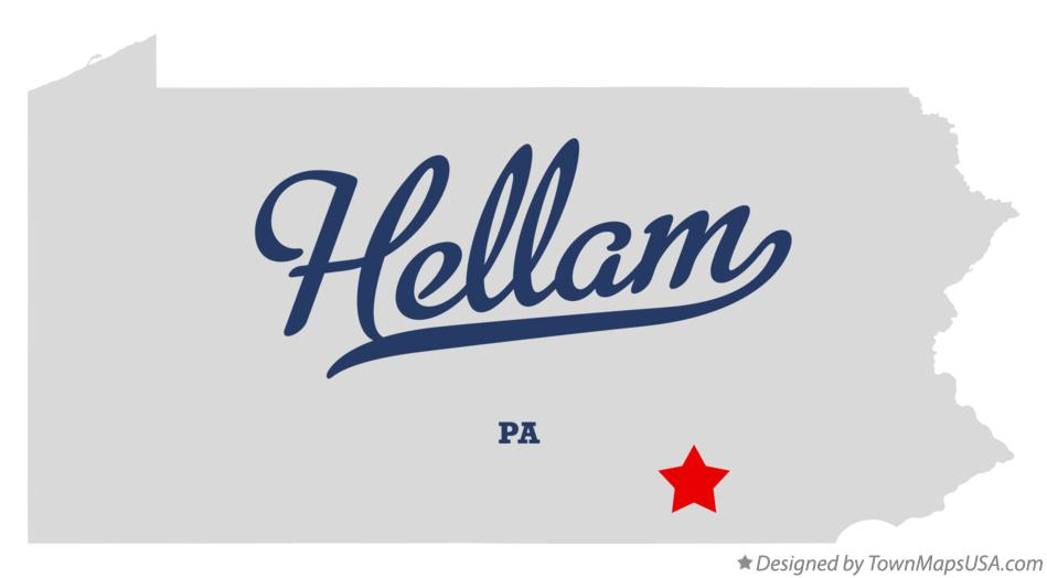 Map of Hellam Pennsylvania PA