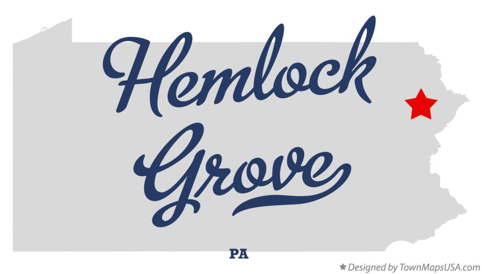 Map of Hemlock Grove Pennsylvania PA