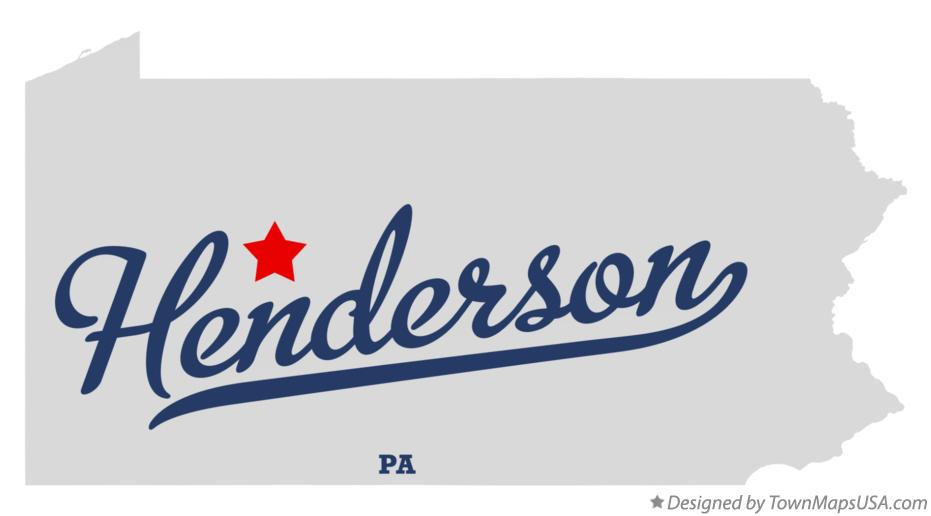 Map of Henderson Pennsylvania PA