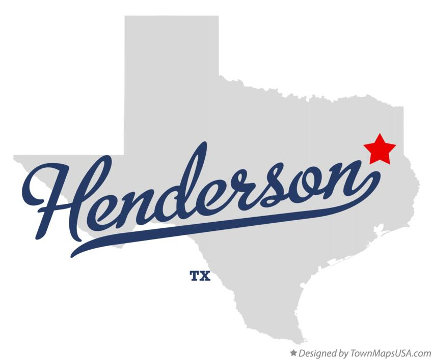 Map of Henderson Texas TX