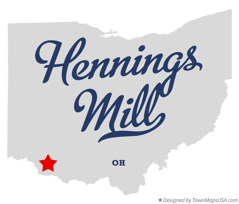 Map of Hennings Mill Ohio OH
