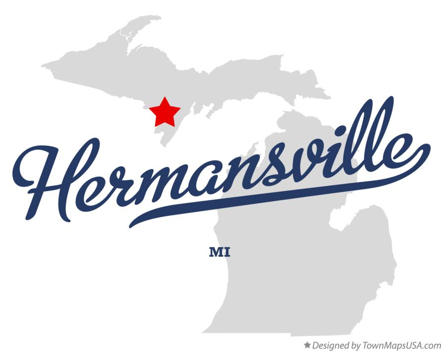 Map of Hermansville Michigan MI
