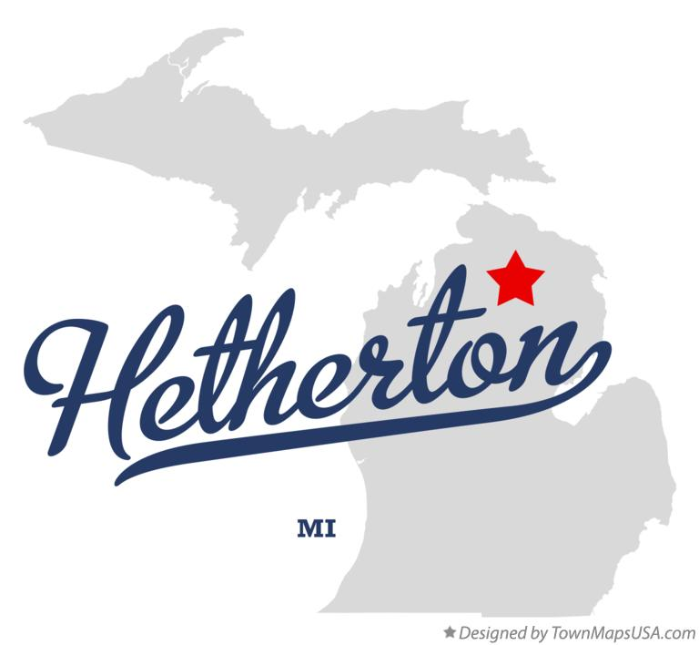 Map of Hetherton Michigan MI